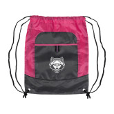 Nylon Pink Raspberry/Deep Smoke Pocket Drawstring Backpack-Red Wolf Head