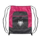 Nylon Pink Raspberry/Deep Smoke Pocket Drawstring Backpack-Red Wolf Head
