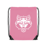 Light Pink Drawstring Backpack-Red Wolf Head