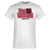 White T Shirt-Red Wolves Arkansas State Centered