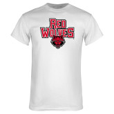 White T Shirt-Red Wolves Stacked