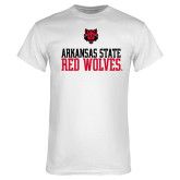 White T Shirt-Arkansas Red Wolves Stacked w Wolf Head