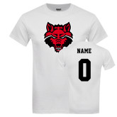 White T Shirt-Red Wolf Head, Custom Tee w/ Name and #