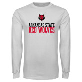 White Long Sleeve T Shirt-Arkansas Red Wolves Stacked w Wolf Head