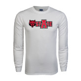 White Long Sleeve T Shirt-Red Wolf Head w/A State
