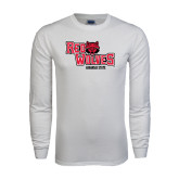 White Long Sleeve T Shirt-Red Wolves Stacked Head Centered