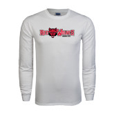 White Long Sleeve T Shirt-Red Wolves w/Red Wolf Head Centered