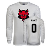 White Long Sleeve T Shirt-Red Wolf Head, Custom Tee w/ Name and #