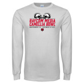 White Long Sleeve T Shirt-Camellia Bowl Helmets Design