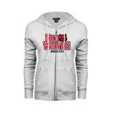 ENZA Ladies White Fleece Full Zip Hoodie-Red Wolves Stacked Head on Right