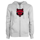 ENZA Ladies White Fleece Full Zip Hoodie-Red Wolf Head