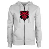 ENZA Ladies White Fleece Full Zip Hoodie-Red Wolf Head