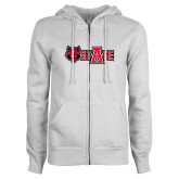 ENZA Ladies White Fleece Full Zip Hoodie-Red Wolf Head w/A State