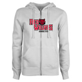 ENZA Ladies White Fleece Full Zip Hoodie-Red Wolves Stacked Head Centered