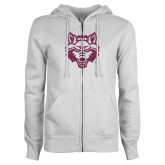 ENZA Ladies White Fleece Full Zip Hoodie-Red Wolf Head Glitter