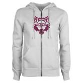 ENZA Ladies White Fleece Full Zip Hoodie-Red Wolf Head Glitter