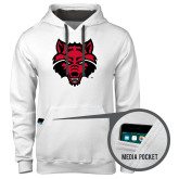 Contemporary Sofspun White Hoodie-Red Wolf Head