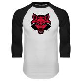 White/Black Raglan Baseball T Shirt-Red Wolf Head
