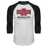 White/Black Raglan Baseball T Shirt-University Mark