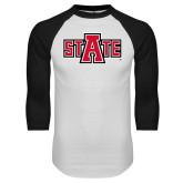 White/Black Raglan Baseball T Shirt-A State
