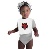 White Baby Bib-Red Wolf Head