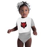 White Baby Bib-Red Wolf Head