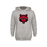 Youth Grey Fleece Hood-Red Wolf Head