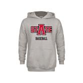 Youth Grey Fleece Hood-Baseball