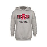 Youth Grey Fleece Hood-Volleyball