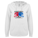 ENZA Ladies White V Notch Raw Edge Fleece Hoodie-Camellia Bowl Arkansa State VS Middle Tennessee