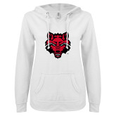 ENZA Ladies White V Notch Raw Edge Fleece Hoodie-Red Wolf Head