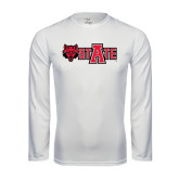 Syntrel Performance White Longsleeve Shirt-Red Wolf Head w/A State