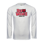 Syntrel Performance White Longsleeve Shirt-Red Wolves Stacked Head on Right