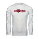 Syntrel Performance White Longsleeve Shirt-Red Wolves w/Red Wolf Head Centered
