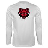 Performance White Longsleeve Shirt-Red Wolf Head