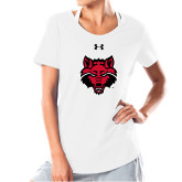 Ladies Under Armour White Charged Cotton Tee-Red Wolf Head