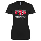Next Level Ladies SoftStyle Junior Fitted Black Tee-University Mark