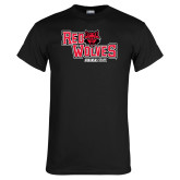 Black T Shirt-Red Wolves Stacked Head Centered