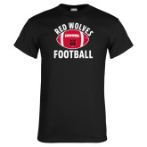 Black T Shirt-Football Distressed Ball