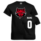 Black T Shirt-Red Wolf Head, Custom Tee w/ Name and #
