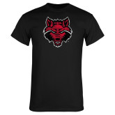 Black T Shirt-Red Wolf Head Distressed