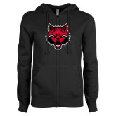 ENZA Ladies Black Fleece Full Zip Hoodie-Red Wolf Head