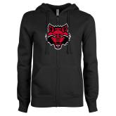 ENZA Ladies Black Fleece Full Zip Hoodie-Red Wolf Head
