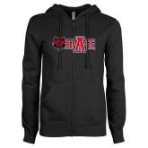 ENZA Ladies Black Fleece Full Zip Hoodie-Red Wolf Head w/A State