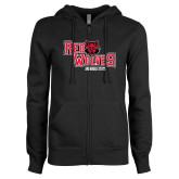 ENZA Ladies Black Fleece Full Zip Hoodie-Red Wolves Stacked Head Centered