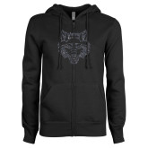 ENZA Ladies Black Fleece Full Zip Hoodie-Red Wolf Head Glitter
