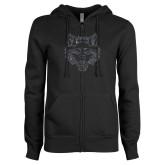 ENZA Ladies Black Fleece Full Zip Hoodie-Red Wolf Head Glitter