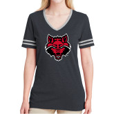 Ladies Black Heather/Grey Tri Blend Varsity Tee-Red Wolf Head