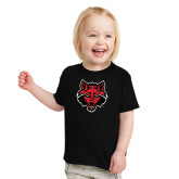 Toddler Black T Shirt-Red Wolf Head