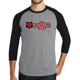 Grey/Black Tri Blend Baseball Raglan-Red Wolf Head w/A State